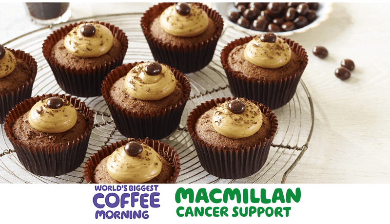 Easy Chocolate Cupcakes with Icing coffee morning macmillan promotion banner