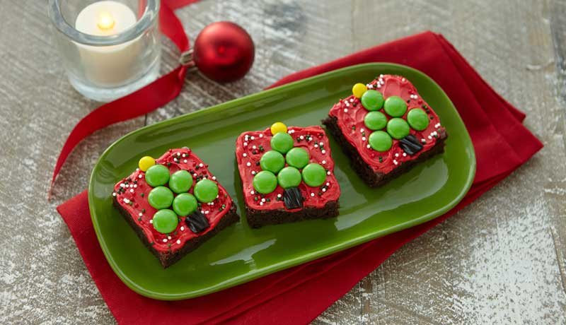Christmas Tree Brownie Squares