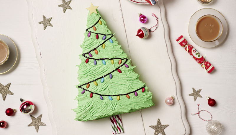 Decorated Christmas Tree Cake
