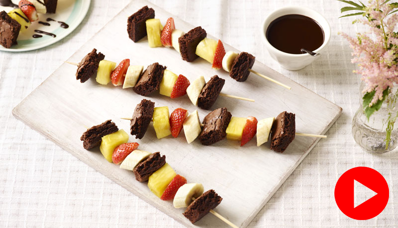 Brownie and Fruit Skewers