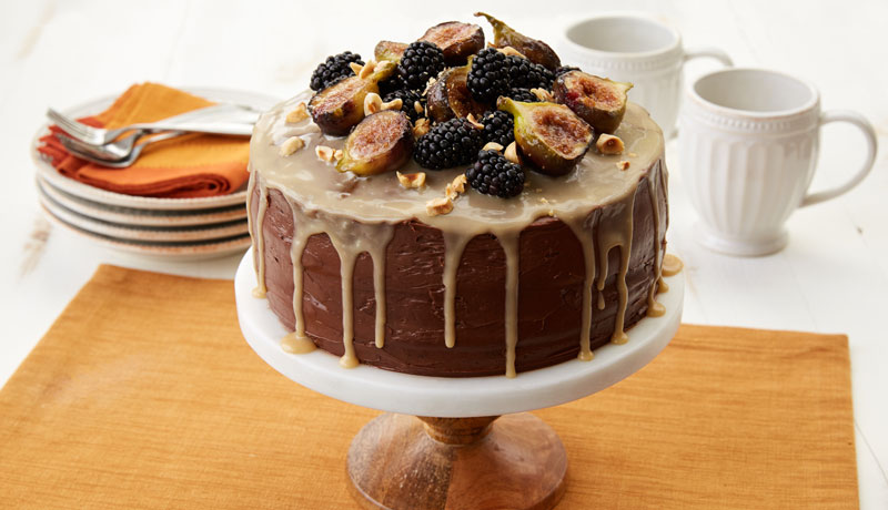 Gluten-Free Chocolate Cake with Fig, Hazelnut & Caramel Drizzle