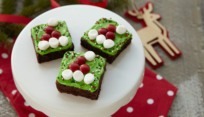 Santa's Hat Brownie Squares