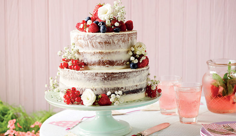 Vanilla Cake with Fresh Fruit & Flowers